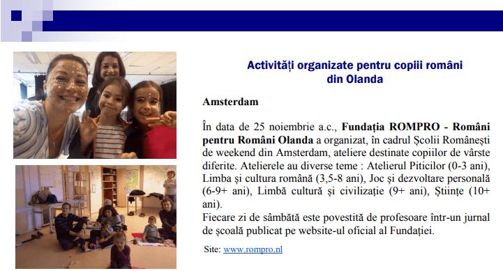 Școala Românească Amsterdam în Revista Comunităților Românești