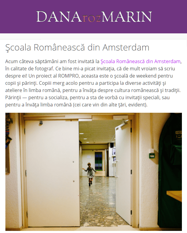 Romanian School Amsterdam on danarozmarin.com
