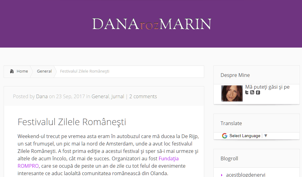 Dana Marin, Rozmarin, Zilele Românești