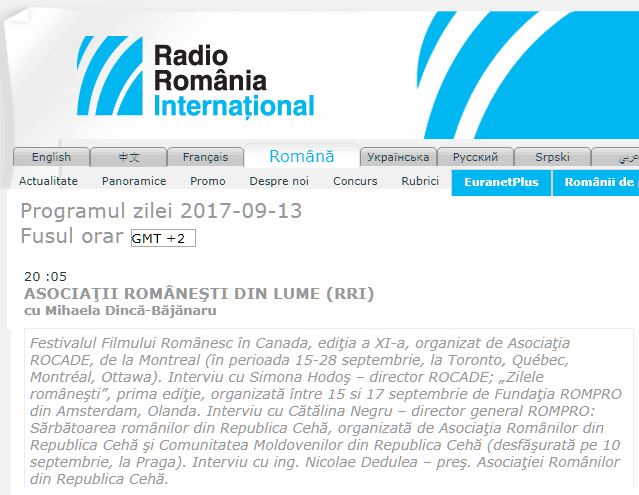 Interview about the Romanian Days Festival on Radio România Internațional